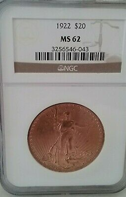 1922 $20 Gold Double Eagle MS62 MS 62 NGC Old Slab