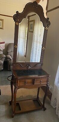 Reproduction Antique Hall Stand With Marble Inlay