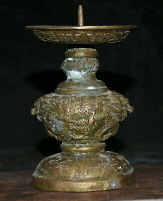 """5"""" Antique Old Chinese Bronze Dynasty Palace Dragon Candle Holder Candlestick"""