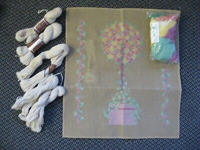 Topiary Tree Floral Aust Wool DMC Hanks Needlepoint Trammed Tapestry Canvas Kit
