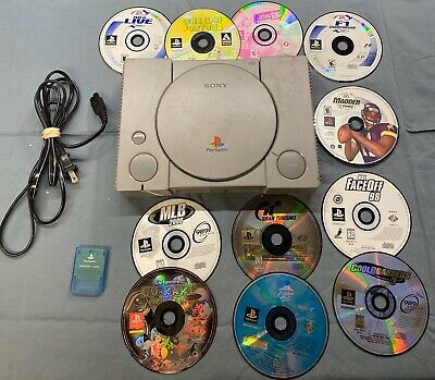 Sony PlayStation PS1 Console Gray SCPH-9001 Memory Card 11 Game Bundle
