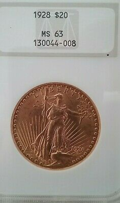 1928 $20 Gold Double Eagle MS63 MS 63 NGC Old Slab