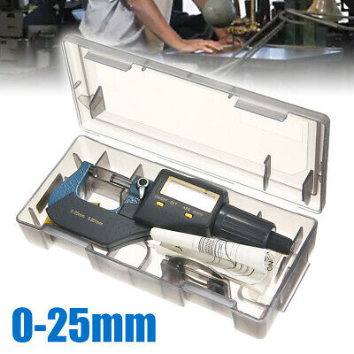 Digital LCD Micrometer 0-25mm Outside Micrometer Caliper Tool Precision 0.001 UK