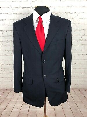 Stafford Men's Navy Blue Suit 100% Wool  38R  32x30  $ 349