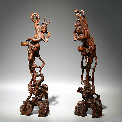 Collectable China Old Boxwood Hand-Carved Fairy A Pair Delicate Decorate Statue