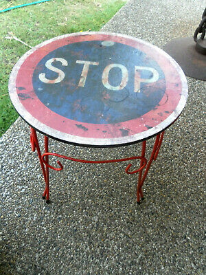 """Vintage/Retro Style Quirky Unusual Rustic Red Metal Legs Stool """"Stop Sign"""" G/C"""