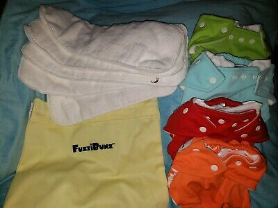 New Fuzzibunz One Size Cloth Diapers Lot Of 5