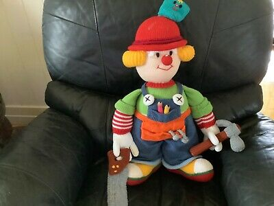 """Jean Greenhowe's Large Knitted """"Tradesman"""" Clown Doll Plush Toy. 58Cm."""