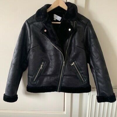 Age 16 years la redoute girls faux leather fur trim Aviator jacket coat black