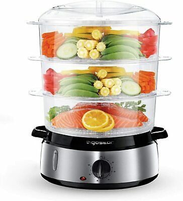 Electric Food Steamer 3 Tier 800W 9L Vegetable Rice Steam Cooker Stainless Steel