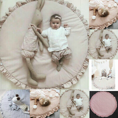Baby Large Crawling Blanket Cute Round Play Mat Floor Rug Kids Activity Carpet