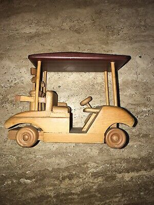 Carved Wood Golf Cart Complete with Golf Bags and Clubs Multi Colored Wood Doug