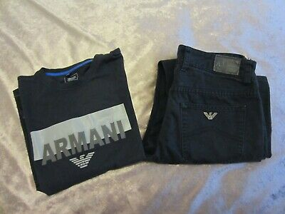 boys armani junior jeans and t-shirt  set age 12-13 outfits sets
