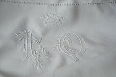Antique French pure linen fil pillow case, hand embroidered LO monogram & crown