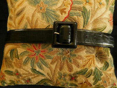 Ladies black leather belt square buckle sz 36 90 Veau Veritable Made in France