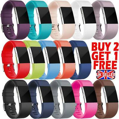 UK GENUINE FITBIT CHARGE 2 STRAP Replacement Wristbands Wrist Strap Metal Buckle