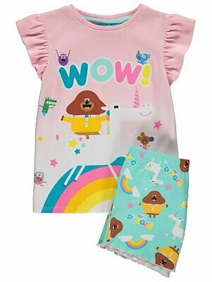 George Girls Official Hey Duggee Unicorn Short Pyjamas