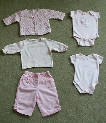 Girls 0-3 Months 6.5Kg Pink 2 X Baby Vests, A Top, A Cardigan.and 1 X Trousers