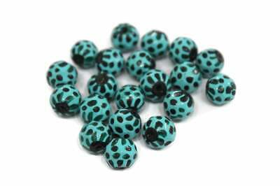 Unique Hand Made India Glass Beads Dark Green and Turquoise VA433