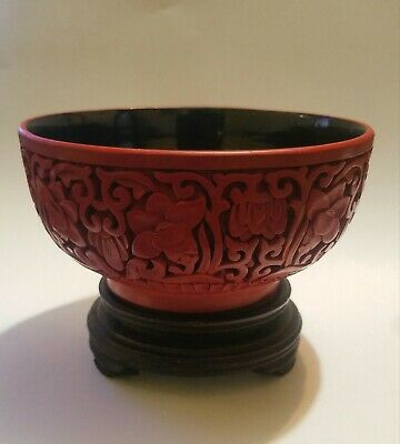 Old Chinese carved cinnabar lacquer floral bowl