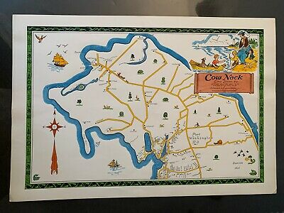 Cow Neck, Long Island Pictorial Map, Hand Colored, Nelson Studios 1969, RARE BIN
