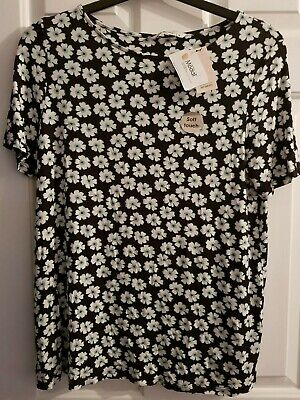 Womens TU Soft Touch Floral Flower Pattern Top T Shirt Size 14 Black Green White