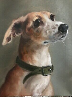 Barnes Painting Vintage Antique Style Portrait Italian Greyhound Dog Pup
