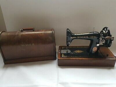 Vintage Singer Antique Hand Crank Sewing Machine with Box