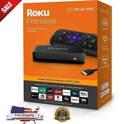 Roku Premiere | HD/4K/HDR Streaming Player with Simple Remote and HDMI Cable