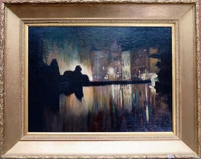 Early 20th Century IMPRESSIONIST Oil Painting TRAFALGAR SQUARE LONDON AT NIGHT