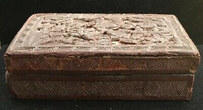 Antique 19th Century Chinese Carved Cinnabar Box Rare Unique