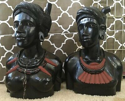 African Or South American - Female & Male Busts Hand Carved Ebony Wood Vintage