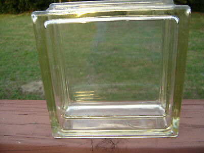 Rare-Vintage-Reclaimed Architectural Clear Glass Block-8 x 8 x 4- minor damage