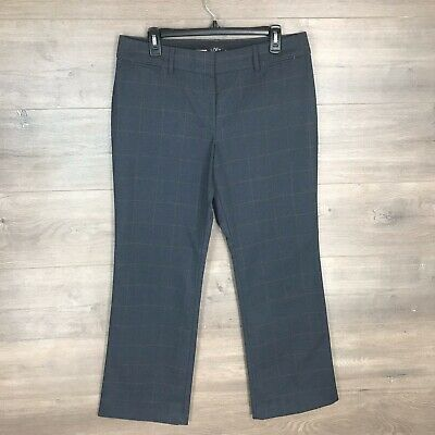 Ann Taylor LOFT Women's Size 10P Petite Julie Trouser Dress Pants Plaid Gray