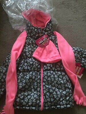 Bnwt Girls Pink Platinuim Black Designer Jacket with Scarf And Hat Fit Age 6