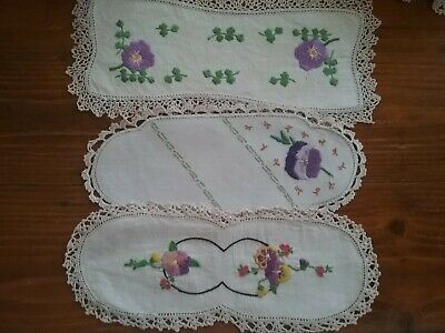 3 Vintage Embroidered Sandwich Tray Doilies              'Mauve Pansies'