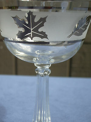 Wine Glasses Hazel Atlas Vintage Small Cordial Frosted Silver Leaves Set of 8