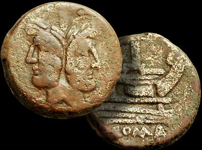 JANUS: Two Faced Deity / PROW of Galley 157-156 BC. ROMA Large Bronze Coin +COA