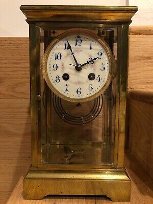 Antique French Brass Crystal Regulator Mantle Clock Porcelain Face Repair