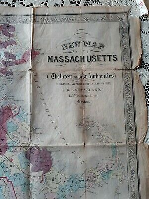 MASSACHUSETTS NEW MAP 1869   published by E P DUTTON in  BOSTON ...FOLD OUT map.