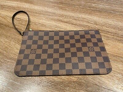 Authentic Louis Vuitton Damier Neverfull MM Wristlet/Pouch Damier Ebene