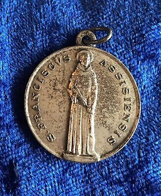 Vintage Antique 1900s Silver Italy Saint Francis Religious Protection Pendant