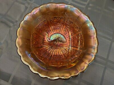 Antique Carnival Glass Emu Fruit Bowl, Vintage Antique Glassware, Australiana