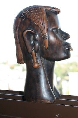 Hand Carved Wooden Old African Tribal Female Head Figurine Sculpture 22cm Decor