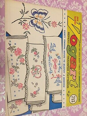Vintage Embroidery Pattern Transfers Butterfly  Birds Roses Pillowcases New