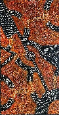 Gracie Morton Pwerle, Authentic Aboriginal Art.  Size, 100cm x 50cm, Bush Plum