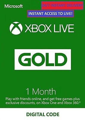 Xbox Live 1 Month Gold Code Key - 24/7 Instant Delivery - Xbox One, Xbox 360