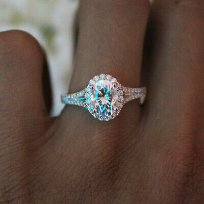 925 Sterling Silver Zircon Ring Women Jewelry Wedding Engagement Gift Size 6-10