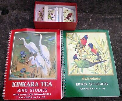 Kinkara Tea Bird Studies Collector Cards Albums 1-96 & 97-192 Heaps Extra Cards