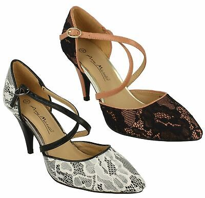 Ladies Womens New Ankle Strap Mid Stiletto Heel Strappy Courts Shoes Size 3-8